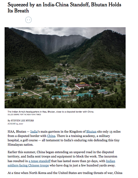 NYT Squeezed by an India China Standoff Bhutan Holds Its Breath NYTimes.com copie