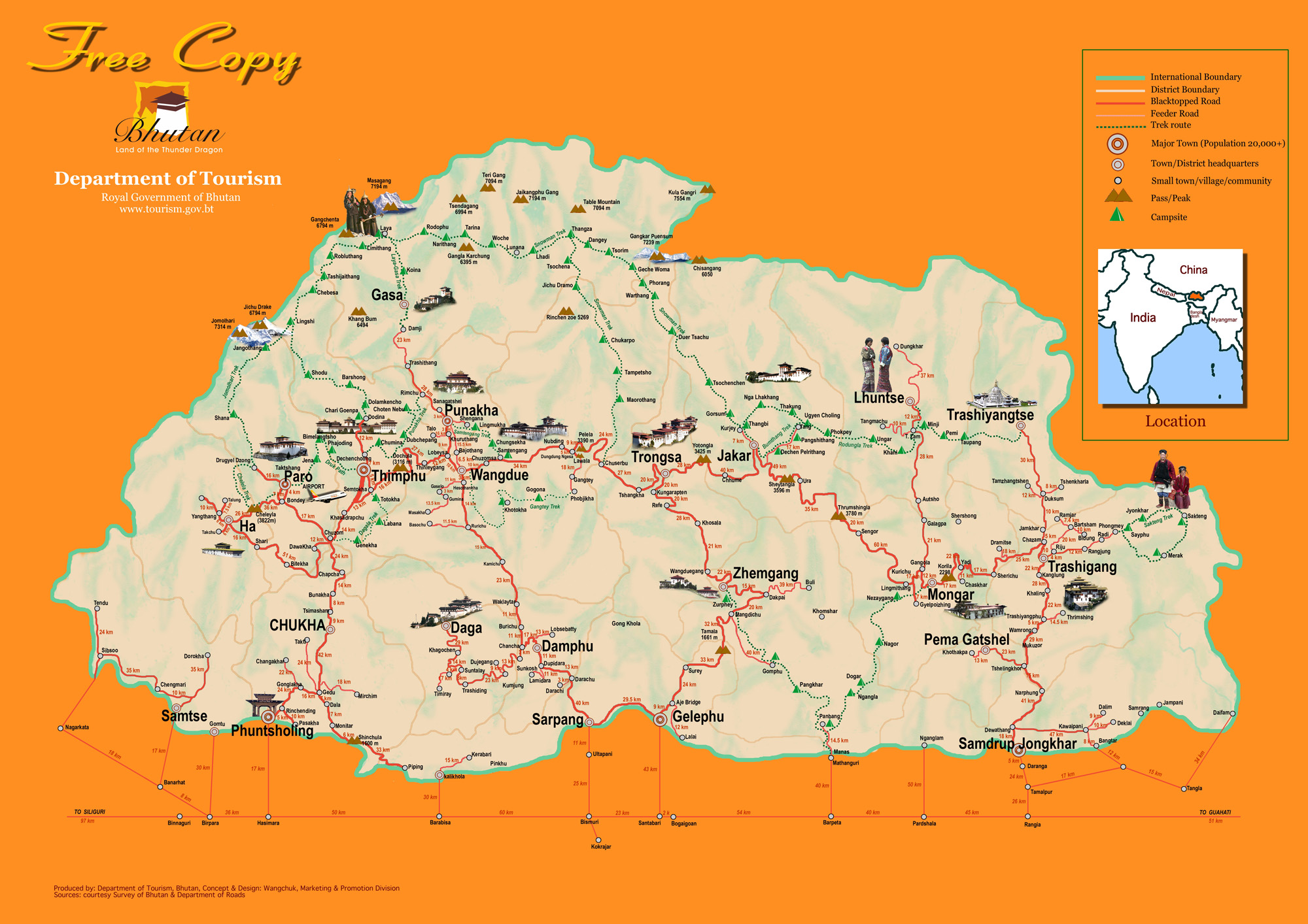 detailed tourism bhutan map