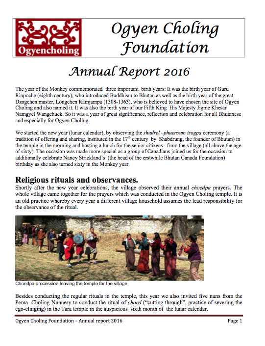 ogyen choling annual report 2016